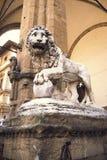 Statua lew w loggii della Signoria Florencja, Czerwiec, - Zdjęcia Stock