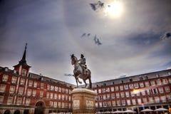 Statua Madrid Spagna di sindaco re Philip III Equestrian della plaza fotografia stock libera da diritti