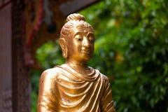Statua medytuje Mahayana złoto na plenerowym Buddha obsiadanie fotografia royalty free