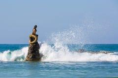 Statua Myanmar della sirena della spiaggia di Ngapali Fotografie Stock Libere da Diritti