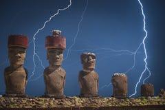 Statua na Wielkanocnej wyspie lub Rapa Nui w southeastern Pacyfik Obrazy Royalty Free
