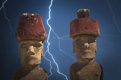 Statua na Wielkanocnej wyspie lub Rapa Nui w southeastern Pacyfik Obrazy Stock