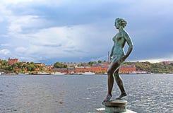 Statua naga kobieta w Sztokholm Zdjęcia Royalty Free