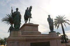 Statua Napoleon Bonaparte na koniu w Diamant kwadracie, Ajaccio, Corsica, Francja obraz stock