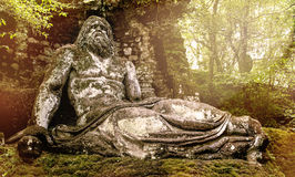 Statua nei giardini di Bomarzo - viaggio di Nettuno dell'Italia - del Lazio Fotografia Stock Libera da Diritti