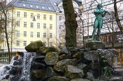 Statua Ole byk w Bergen, Norwegia fotografia stock