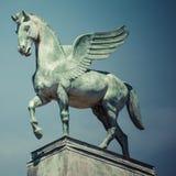Statua Pegasus na dachu opera w Poznan Poland Obraz Royalty Free