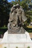 Statua pionieristica situata nel cimitero Nebraska dei trimestri invernali Fotografia Stock