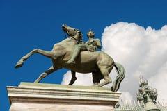 Statua Pollux na Horseback - Torino Włochy fotografia stock