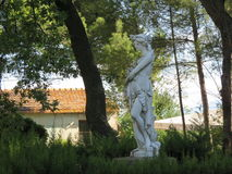 Statua. In the private gardens of the villas, often found in plaster or marble statues make figure and embellish more everything stock images