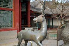 Statua Qilin pozycja Przed lato pałac W Pekin Obraz Stock