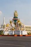 Statua różowi słonie Bangkok Tajlandia Zdjęcia Royalty Free