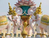 Statua różowi słonie Bangkok Tajlandia Obraz Royalty Free