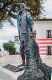 Statua rybak na wybrzeżu, Numana, Conero, Marche Obrazy Stock