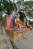 Statua siedzieć Buddha W Swayambhunath, teraz załamująca się po t Zdjęcie Royalty Free