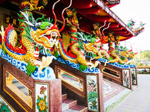 Statua smok, Chińska świątynia Obraz Stock