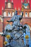 Statua St John Nepomuk, xviii wiek zabytek, Ostrow Tumski, Wrocławski, Polska, Styczeń 2018 fotografia stock