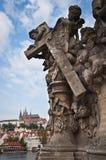 Statua sul ponticello del Charles Immagini Stock