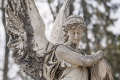Statua sulla tomba nel vecchio cimitero immagini stock