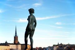 Statua in Svezia, Stoccolma Fotografia Stock
