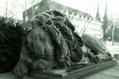 Statua sypialny lew Obraz Stock