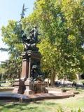 Statua Vicuña Mackenna, praca rzeźbiarz jules Coutan w kwadracie ten sam imię w centrum Santiago, zdjęcia royalty free