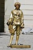 Statua vivente - l'uomo nell'immagine del musicista Fotografia Stock Libera da Diritti