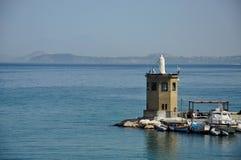 Statua w morzu i łodzie rybackie na wyspie Procida Naples, Włochy,/ fotografia stock
