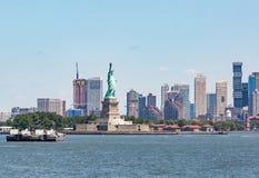 Statua Wolności - Lipiec 09, 2017, swobody wyspa, Nowy Jork Harb obraz stock
