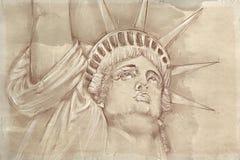Statua Wolności z antyk bazą ilustracji
