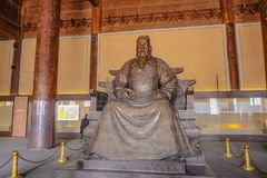Statua Yongle cesarz w Ling En Hall Changling grobowiec w Ming dynastii grobowach, Shishanling Pekin Chiny obrazy royalty free