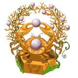 Statua Złoty kraba mienie w swój pazurach perła odizolowywał na białym tle Wektorowy kreskówki zakończenie ilustracja wektor