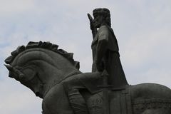 Statua założyciel Tbilisi miasto Vakhtang Gorgasali zdjęcia royalty free