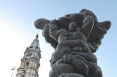 Statuary in front of City Hall, Philadelphia, Pennsylvania. Statuary in front of City Hall against blue skies in Philadelphia, Pennsylvania, USA Stock Images