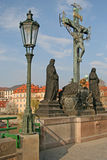 Statuary of the Holy Crucifix and Calvary on Charles Bridge in Prague, Czech Republic Royalty Free Stock Photography