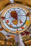 Statuary and skylight in the reception hall Palazzo Las Vegas. The Palazzo is a luxury hotel and casino resort located on the Las Vegas Strip in Paradise stock image