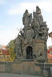 Statuary of St. John of Matha, St. Felix of Valois and St. Ivan on the Charles Bridge in Prague, Czech Republic Stock Photo