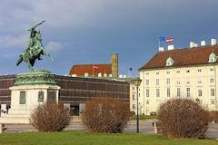 Statue équestre d'archiduc Charles de l'Autriche 1860 sur Heldenplatz, Vienne, Autriche image libre de droits