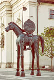 Statue équestre de margrave Jobst du Luxembourg, Brno, jaune photographie stock