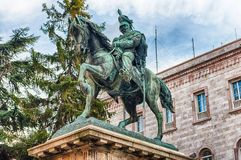 Statue équestre de Victor Emmanuel II, Piazza Italie, Pérouse, photo stock