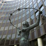 Statue. In front of the European Parliament in Strasbourg stock images