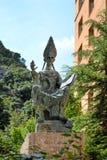 Statue abat Olibe (fundator of Montserrat) at the monastery  Royalty Free Stock Photography