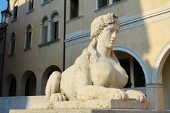 Statue and the Academy Square in Conegliano, Italy Royalty Free Stock Images