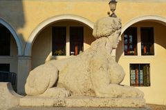 Statue and the Academy Square in Conegliano, Italy Royalty Free Stock Photos