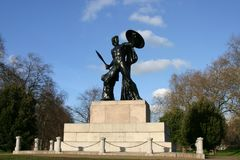 Statue of Achilles, the Greek hero. The 18ft statue of Achilles, the Greek hero of the Trojan War, commemorates the soldier and politician, Arthur Wellesley Stock Photography
