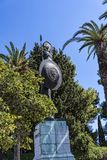 Statue of Achilles in the gardens of the Achillieon palace in Corfu Greece. Statue of Achilles with his gorgon Shield in the garden of the Achilleion palace of Stock Photos