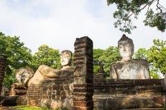 Statue Acient Buddha in historischem Park Kamphaeng Phet Lizenzfreie Stockfotos