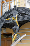 Statue of acrobat is called Circus has arrived Royalty Free Stock Image