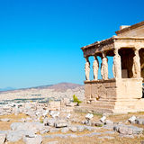 Statue acropolis athens   place  and  historical    in greece th Royalty Free Stock Photography