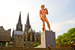 Statue of ADAM in cologne Stock Photos